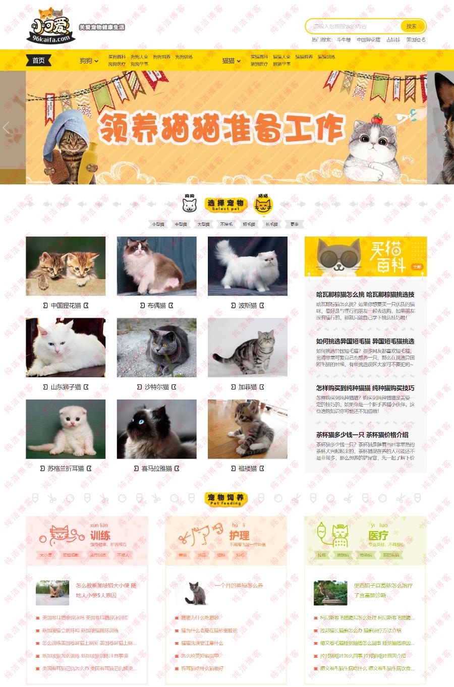 96kaifa仿《小可爱宠物网》宠物网站源码